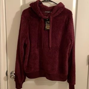 Fifth sun burgundy soft plush hoodie size M